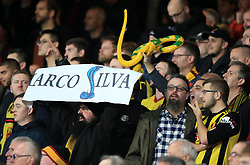 Watford fans hold up an inflatable snake during the Premier League match at Goodison Park, Liverpool.