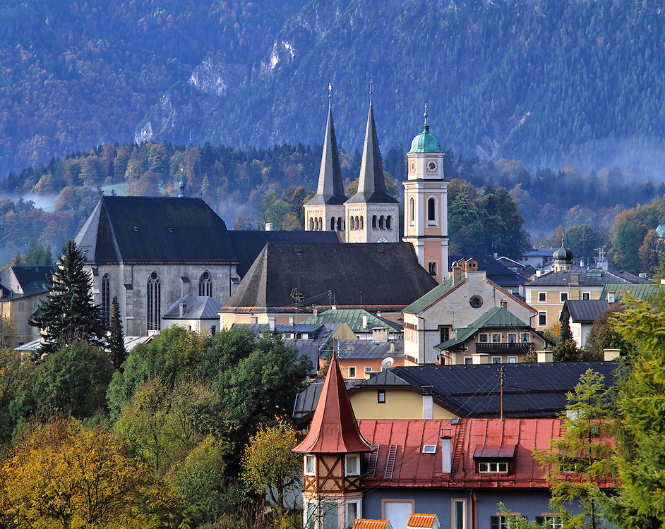 The spires of the churches mark the center of Berchtesgaden in Bavaria, Germany.