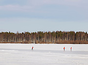 Swedish pedestrians crossing a lake in North Sweden, Lapland.
