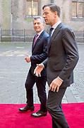 Regeringslunch in de Treveszaal / Government Lunch in Treveszaal<br /> <br /> op de foto / On the photo:  President Mauricio Macri met demissionair premier Mark Rutte / President Mauricio Macri  with Prime Minister Mark Rutte