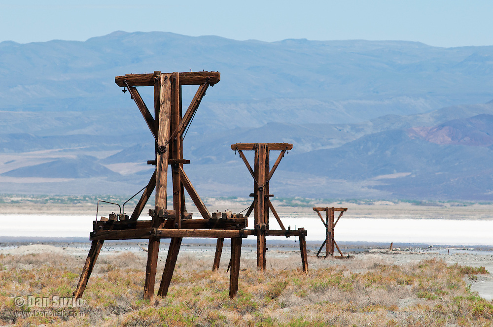 Support towers of the Salt Tramway, built in 1912-1913 to carry salt from Saline Valley to Owens Valley, climbing 7,700 feet to cross the Inyo Mountains. Saline Valley, Death Valley National Park, California