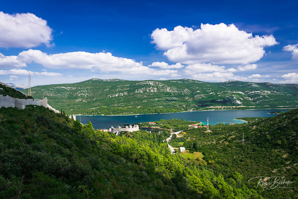 The Great Wall above Mali Ston and the Adriatic, Ston, Dalmatian Coast, Croatia