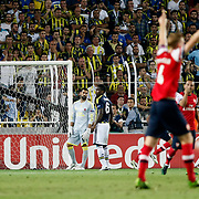 Arsenal's scores during the UEFA Champions League Play-Offs First leg soccer match Fenerbahce between Arsenal at Sukru Saracaoglu stadium in Istanbul Turkey on Wednesday 21 August 2013. Photo by /TURKPIX