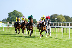 """Silver Character ridden by Ella McCain and Trained by Donald McCain, Cotton Club ridden by Marco Ghiani trained by George Boughey, Sacred Sprite ridden by Georgia Dobie trained by John Berry, Contingency Fee ridden by Grace McEntee trained by Phil McEntee, Lady Natasha ridden by Luke Bacon trained by James Grassick in the """"""""Hands and Heels"""""""" Apprentice Handicap - Mandatory by-line: Robbie Stephenson/JMP - 27/08/2019 - PR - Bath Racecourse - Bath, England - Race Meeting at Bath Racecourse"""
