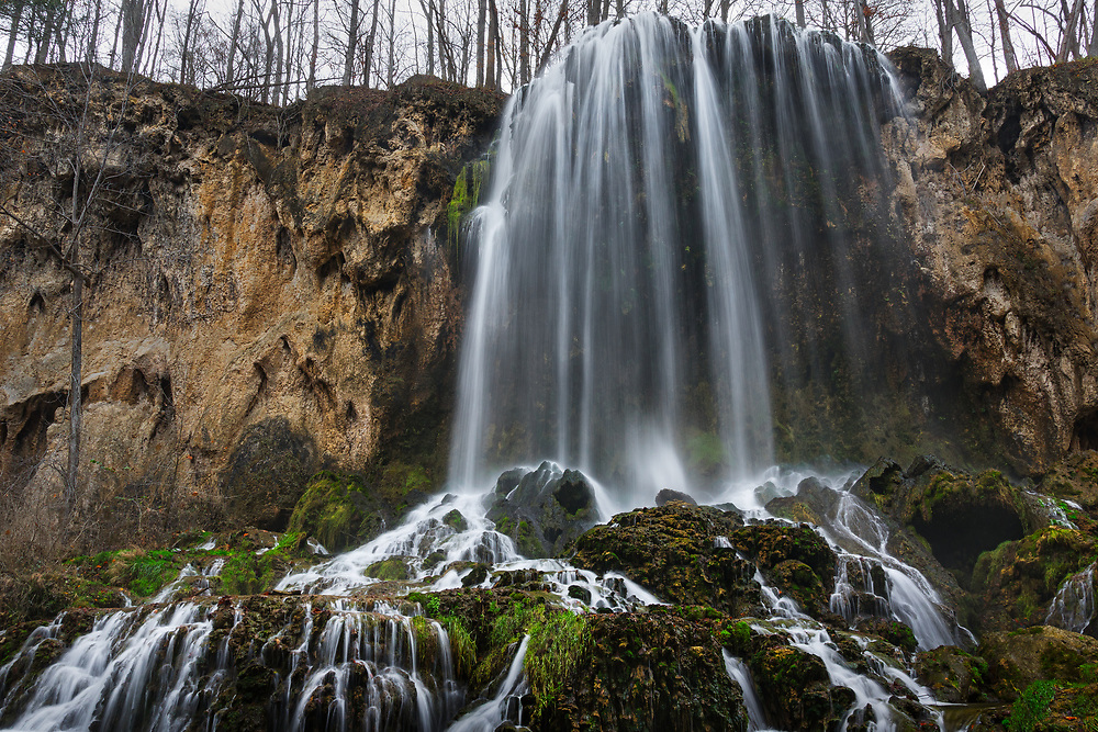 The falls at Falling Springs in Virginia drops an impressive 80 feet on to the mounds of moss covered rocks at the bottom, forming countless streams of flowing over stratified layers.