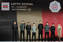 February 23, 2019 - Abu Dhabi, United Arab Emirates - Lotto Soudal Team from Belgium, during the Team Presentation, at the opening ceremony of the 1st UAE Tour, inside Louvre Abu Dhabi museum..On Saturday, February 23, 2019, Abu Dhabi, United Arab Emirates. (Credit Image: © Artur Widak/NurPhoto via ZUMA Press)
