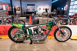 The Tractor Sportster drag racer built and raced by John Heidt in the early 1970's in the Drag Racing: America's Fast Time - exhibition at the Harley-Davidson Museum during the Milwaukee Rally. Milwaukee, WI, USA. Saturday, September 3, 2016. Photography ©2016 Michael Lichter.