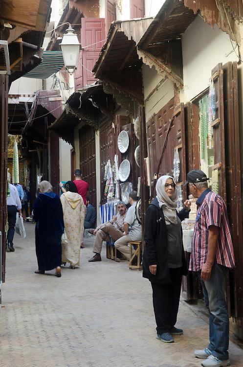People on Talaa Kebira street, Fes el Bali Morocco