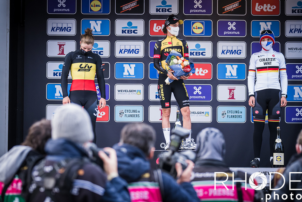podium:<br /> <br /> 1st place: Marianne Vos (NED/Jumbo Visma)<br /> 2nd place: Lotte Kopecky (BEL/Liv Racing)<br /> 3th place Lisa Brennauer (GER/Ceratizit WNT Pro Cycling)<br /> <br /> 10th Gent-Wevelgem in Flanders Fields 2021<br /> Elite Womens Race (1.WWT)<br /> <br /> One Day Race from Ypres (Ieper) to Wevelgem 142km<br /> <br /> ©RhodePhoto