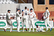 Sam Cook of Essex celebrates taking the wicket of  Murali Vijay of Somerset during the Specsavers County Champ Div 1 match between Somerset County Cricket Club and Essex County Cricket Club at the Cooper Associates County Ground, Taunton, United Kingdom on 23 September 2019.