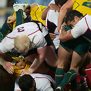Eric Fry, USA, (left) and Junior Sifa, USA, (right) challenges for the ball in the breakdown during the Australia V USA, Pool C match during the IRB Rugby World Cup tournament. Wellington Stadium, Wellington, New Zealand, 23rd September 2011. Photo Tim Clayton...