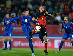 September 19, 2017 - Heverlee, BELGIUM - Moldavia's defender Natalia Munteanu and Belgium's Elke Van Gorp pictured in action during a soccer game between Belgium's Red Flames and the Republic of Moldova, a qualification match for the women's World Cup 2019 Tuesday 19 September 2017, in Heverlee, Leuven. BELGA PHOTO DAVID CATRY (Credit Image: © David Catry/Belga via ZUMA Press)