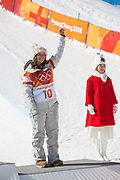 Arielle Gold, USA, takes 3rd place during the womens halfpipe final at the Pyeongchang Winter Olympics on 13th February 2018 at Phoenix Snow Park in South Korea