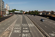 Small number of cars on St Patricks Ringway in the city centre of the UK City of Culture 2021 on 23rd June 2021 in Coventry, United Kingdom. The UK City of Culture is a designation given to a city in the United Kingdom for a period of one year. The aim of the initiative, which is administered by the Department for Digital, Culture, Media and Sport. Coventry is a city which is under a large scale and current regeneration.