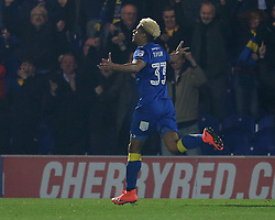 AFC Wimbledon's Lyle Taylor celebrates scoring his side's first goal of the game