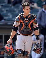 CHICAGO - SEPTEMBER 10:  Buster Posey #28 of the San Francisco Giants looks on against the Chicago White Sox on September 10, 2017 at Guaranteed Rate Field in Chicago, Illinois.  The White Sox defeated the Giants 8-1.  (Photo by Ron Vesely) Subject:   Buster Posey