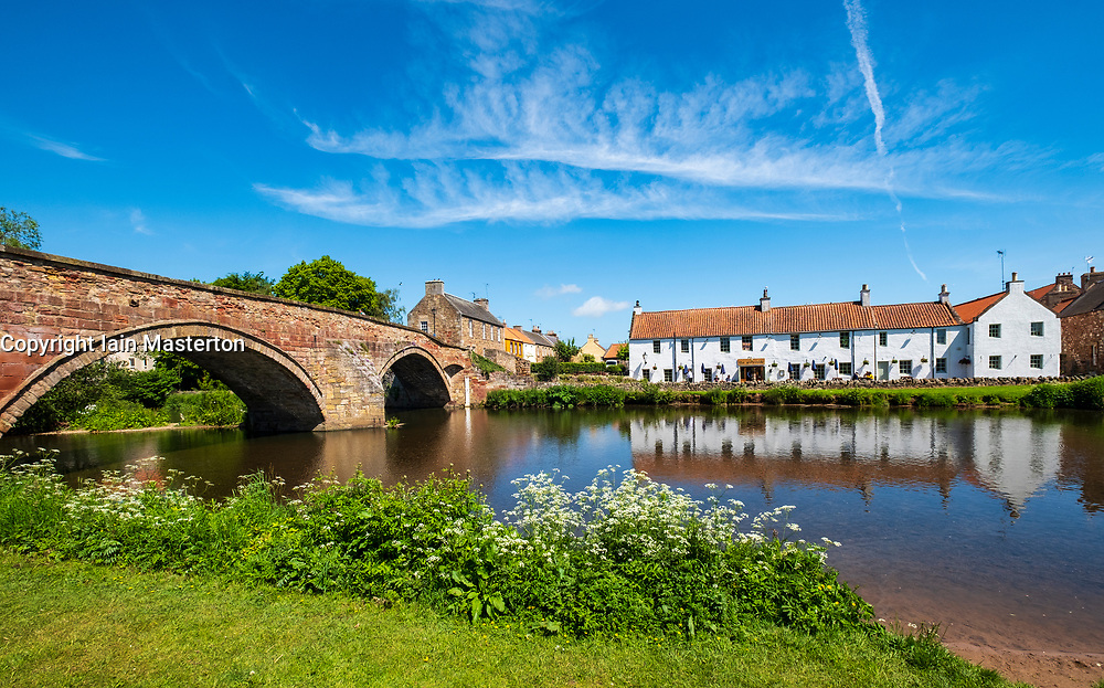 Nungate Bridge , The Waterside Pub and River Tyne at Haddington, East Lothian, Scotland, UK