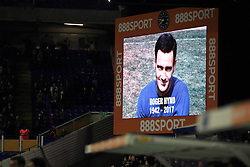 A tribute to former Birmingham City player Roger Hynd is shown on the big screen