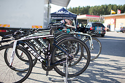 Drops Cycling Team time trial bikes are lined up for the Crescent Vargarda - a 42.5 km team time trial, starting and finishing in Vargarda on August 11, 2017, in Vastra Gotaland, Sweden. (Photo by Balint Hamvas/Velofocus.com)