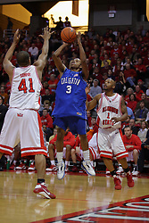 03 January 2009: Cavel Witter takes a jump shot defended by Brandon Sampay and trailed by Emmanuel Holloway.. The Illinois State University Redbirds extended their record to 14-0 with a 86-64 win over the Creighton Bluejays on Doug Collins Court inside Redbird Arena on the campus of Illinois State University in Normal Illinois