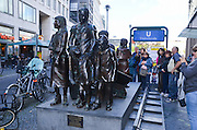 Trains to Life, Trains to death statue by Frank Meisler 2008 outside Friedrichstrasse train station, Berlin, Germany
