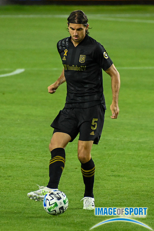 LAFC defender Dejan Jakovic (5) during a MLS soccer game, Sunday, Sept. 27, 2020, in Los Angeles. The San Jose Earthquakes defeated LAFC 2-1.(Dylan Stewart/Image of Sport)