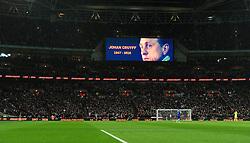 Fans in side Wembley Stadium pay their respect to Johan Cruyff  - Mandatory by-line: Dougie Allward/JMP - 29/03/2016 - FOOTBALL - Wembley Stadium - London, United Kingdom - England v Netherlands - International Friendly