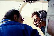 Oil industry in Ras Tanura area, Saudi Arabia, helicopter pilot Bell 206 JetRanger, 1979
