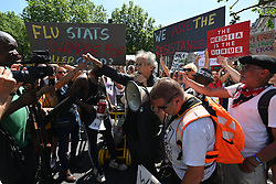 © Licensed to London News Pictures. 14/06/2021. London, UK. PIERS CORBYN attends an anti lockdown and anti Covid vaccination demonstration outside Downing Street. Later today the British Prime Minister will hold a press conference and announce his decision on lockdown easing. Photo credit: Ray Tang/LNP