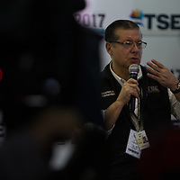 David Matamoros Batson, President of the Supreme Electoral Tribunal of Honduras, speaking during the much-criticised electoral process in Tegucigalpa after the November 2017 elections in Honduras. Matamoros is thought by many to be the mastermind of a huge fraud to reinstall Juan Orlando Hernández in power.<br /> <br /> The Nationalist Party used a four-finger-salute with the slogan 'four more years' during the election process.