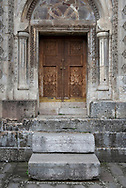 An entrance to a church at Gandzasar Monastery in Nagorno-Karabakh. Dating from the fifth century, the Armenian monastery is one of the most important in Karabakh. <br /> <br /> (September 25, 2016)