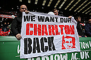 Charlton Athletic fans protesting by showing a banner before k/o.  Skybet football league championship match, Charlton Athletic v Brighton & Hove Albion at The Valley  in London on Saturday 23rd April 2016.<br /> pic by John Patrick Fletcher, Andrew Orchard sports photography.