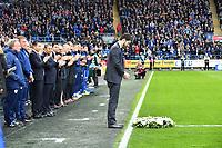 Football - 2018 / 2019 Premier League - Cardiff City vs. Leicester City<br /> <br /> Leicester City vice chairman Aiyawatt Srivaddhanaprabha lays a giant wreath in memory of Vichai Srivaddhanaprabha in Leicster's 1st match since the death of Vichai Srivaddhanaprabha, at Cardiff City Stadium.<br /> <br /> COLORSPORT/WINSTON BYNORTH