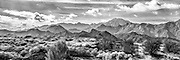 Black and white photographic art panorama of San Felipe mountains, Baja California, Mexico