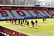 Ground shot of the empty stand during the EFL Sky Bet League 2 match between Stevenage and Bradford City at the Lamex Stadium, Stevenage, England on 5 April 2021.