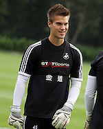 Gregor Zabret of Swansea city. Swansea city FC team training in Llandore, Swansea,South Wales on Thursday 15th August 2013. The team are preparing for the opening weekend of the Barclays premier league when they face Man Utd. pic by David Richards,  Andrew Orchard sports photography,