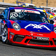 SEPT 16, 2018 Sonoma, CA, U.S.A :  # 20 Fred Poordad take 6th place with a best lap time 1:41.038 during the GoPro Grand Prix of Sonoma Porsche GT3 Race 2 at Sonoma Raceway Sonoma, CA  Thurman James