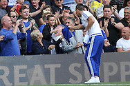 John Terry, the Chelsea captain gives his shirt to a young Chelsea fan during a walk around the pitch after full time. Barclays Premier league match, Chelsea v Leicester city at Stamford Bridge in London on Sunday 15th May 2016.<br /> pic by John Patrick Fletcher, Andrew Orchard sports photography.