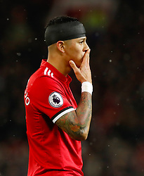 Manchester United's Marcos Rojo with a bandaged head during the Premier League match at Old Trafford, Manchester.