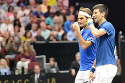 September 21, 2018 - Chicago, Illinois, United States - ROGER FEDERER and NOVAK DJOKOVIC in doubles action in the 2018 Laver Cup tennis event in Chicago. (Credit Image: © Christopher Levy/ZUMA Wire)