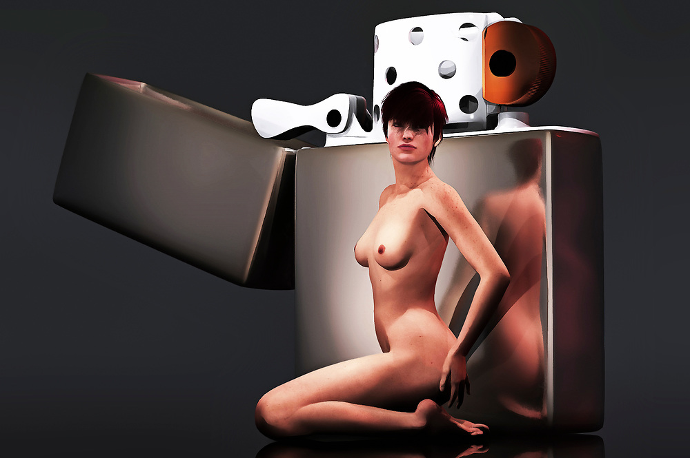 From the moment we set our sights upon this acryl on canvas piece, we are struck by the contrast of the two decidedly differing images that dominate the scene. We have a giant Zippo lighter, displayed in the iconic, simple silver design that is still found in stores to this day. Near the Zippo lighter, we have a nude woman. She stands defiantly. She stares intently. We don't know what she's saying, but we understand that she isn't someone who is going to be pushed around. It helps to have that much fire on hand. Available as wall art, t-shirts, or as interior home décor products. .<br /> <br /> BUY THIS PRINT AT<br /> <br /> FINE ART AMERICA<br /> ENGLISH<br /> https://janke.pixels.com/featured/zippo-jan-keteleer.html<br /> <br /> <br /> WADM / OH MY PRINTS<br /> DUTCH / FRENCH / GERMAN<br /> https://www.werkaandemuur.nl/nl/shopwerk/Erotisch-naakt---Naakt-met-gigantische-Zippo-aansteker/445498/134