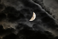 The waxing crescent moon and clouds over Goshen, N.Y., on Nov. 20, 2020.