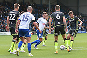 Bury Defender, Phil Edwards (14) and Bury Defender, Tom Aldred (15) during the EFL Sky Bet League 1 match between Bury and Bristol Rovers at the JD Stadium, Bury, England on 19 August 2017. Photo by Mark Pollitt.