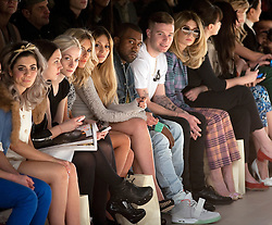 © Licensed to London News Pictures. 20/02/2012. London, UK.  Zara Martin, Kanye West and Nicola Roberts on the front row at Mark Fast Autumn/Winter 2012 collection on Day 4 of London Fashion Week 2012 at Topshop Show Space on February 20th, 2012. Photo credit : Ben Cawthra/LNP