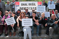April 16, 2018 - Amasya, Türkiye - Supporters of Turkey's main opposition party have staged sit-in demonstrations in Amasya city, 16th of April, 2018. People's Republican Party have staged sit-in demonstrations across Turkey to protest the state of emergency that was declared after a coup attempt in 2016. The demonstrations held Monday in all of Turkey's 81 provinces were organized as President Recep Tayyip Erdogan's government prepares this week to extend the state of emergency for a seventh time. (Credit Image: © Depo Photos via ZUMA Wire)