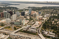 North America, United States, Washington, Bellevue, downtown Bellevue and Lake Washington (aerial view)