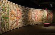 A global collection of children's artwork inspired by Ali is displayed on a 55-foot-long Hope and Dream wall, Thursday, Jan. 11, 2012 at the Muhammad Ali Center in Louisville, Ky. (AP Photo/Brian Bohannon)
