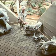 Kruger National Park,J.D.Els, head ranger at Malelanehek entrance, elephant, hippo and warthog skulls. South Africa.