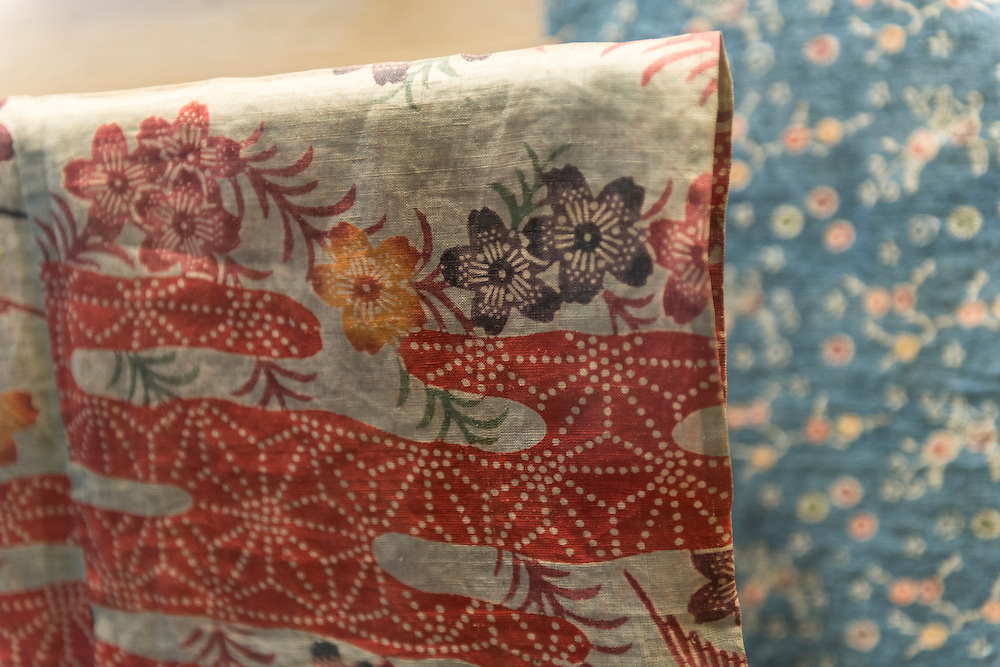 Kimono on display at the Japan Folk Crafts Museum (Mingeikan), Tokyo, Japan, September 9, 2012. The museum was founded in 1936 by Soetsu Yanagi (1889-1961). It is dedicated to promoting the Mingei folk crafts movement and showing items from all over Japan. A contemporary and friend of Bernard Leach, Yanagi believed in the high aesthetic value of everyday items made by anonymous craftsmen working in set traditions.