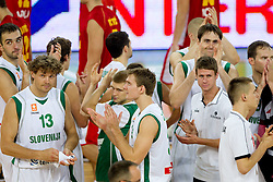 Mirza Begic of Slovenia, Miha Zupan of Slovenia, Zoran Dragic of Slovenia, Erazem Lorbek of Slovenia and Luka Lapornik of Slovenia after the friendly basketball match between National teams of Slovenia and Montenegro of Adecco Ex-Yu Cup 2011 as part of exhibition games before European Championship Lithuania 2011, on August 7, 2011, in Arena Stozice, Ljubljana, Slovenia. Slovenia defeated Crna Gora 86-79. (Photo by Vid Ponikvar / Sportida)